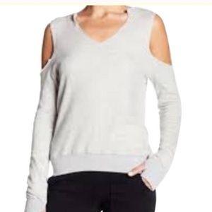 NWT Pam & Gela Gray Cold Shoulder Sweatshirt Top